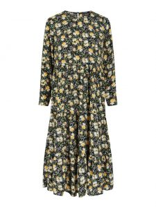 Pieces - black dress with yellow flowers