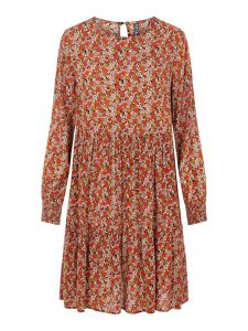 Pieces - floral dress in colour cherry tomato
