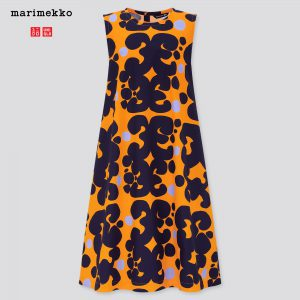 Uniqlo x Marimekko - orange A-line sleveless dress